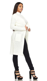 Longline Chunky Knit Cardigan (Plus Sizes Available S-3XL) - Ivory