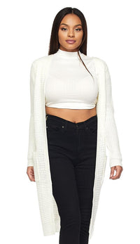 Longline Chunky Knit Cardigan (Plus Sizes Available S-3XL) - Ivory - SohoGirl.com