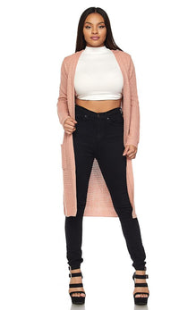 Longline Chunky Knit Cardigan (Plus Sizes Available S-3XL) - Blush