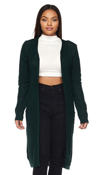 Longline Chunky Knit Cardigan (Plus Sizes Available S-3XL) - Hunter Green - SohoGirl.com