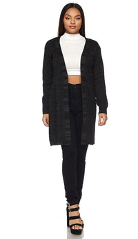 Longline Chunky Knit Cardigan (Plus Sizes Available S-3XL) - Charcoal - SohoGirl.com