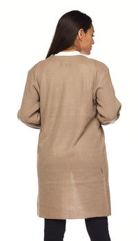 Ribbed Longline Knit Cardigan - Beige