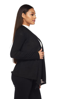 Draped Sweater Cardigan in Black - SohoGirl.com