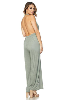 Plunging Wide Leg Jumpsuit in Sage
