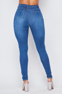 Super High Waisted Denim Skinny Jeans - Medium - SohoGirl.com