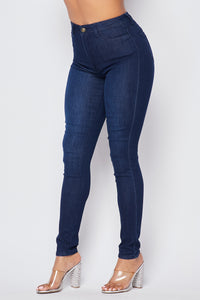 Super High Waisted Denim Skinny Jeans - Dark - SohoGirl.com