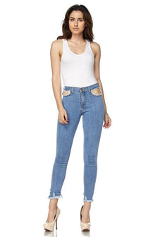 High Waisted All Over Cut Out Jeans - SohoGirl.com