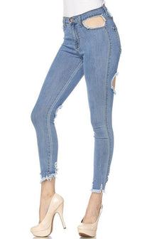 High Waisted All Over Cut Out Jeans
