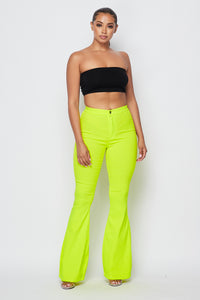 High Waisted Stretchy Bell Bottom Jeans - Neon Yellow - SohoGirl.com