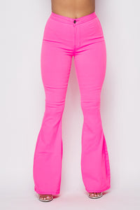 High Waisted Stretchy Bell Bottom Jeans - Neon Pink - SohoGirl.com