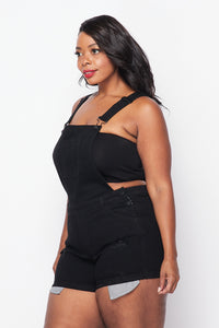 Plus Size Distressed Short Denim Overall - Black - SohoGirl.com