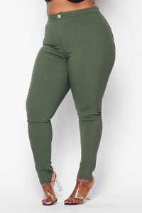 Plus Size Super High Waisted Stretchy Skinny Jeans - Olive - SohoGirl.com