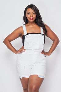 Plus Size Distressed Short Denim Overall - White - SohoGirl.com