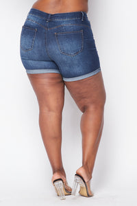 Plus Size Distressed Bermuda Shorts - Dark Wash - SohoGirl.com