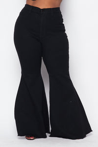 Plus Size High Waisted Super Flare Bell Bottoms Jeans - Black - SohoGirl.com