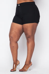 Plus Size Basic High Waisted Shorts - Black - SohoGirl.com