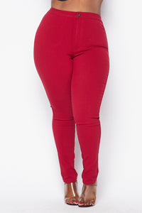 Plus Size Super High Waisted Stretchy Skinny Jeans - Burgundy - SohoGirl.com