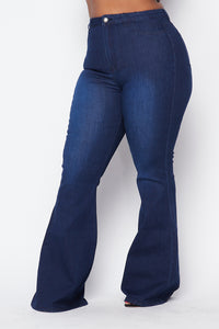 Plus Size High Waisted Stretchy Bell Bottom Jeans - Dark Denim - SohoGirl.com