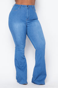 Plus Size High Waisted Stretchy Bell Bottom Jeans - Medium Denim - SohoGirl.com