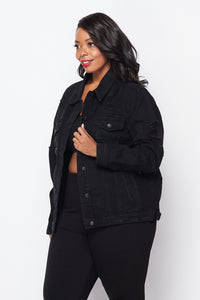Plus Size Distressed Denim Jacket - Black - SohoGirl.com