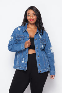 Plus Size Distressed Denim Jacket - Medium Wash - SohoGirl.com