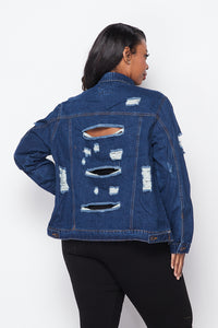 Plus Size Distressed Denim Jacket - Dark Wash - SohoGirl.com