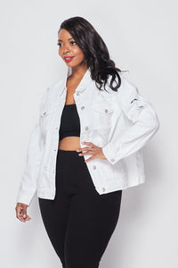 Plus Size Distressed Denim Jacket - White - SohoGirl.com