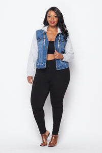 Plus Size Sweatshirt Hooded Denim Jacket - Medium Denim - SohoGirl.com