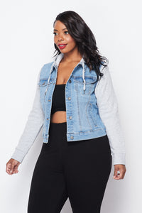 Plus Size Sweatshirt Hooded Denim Jacket - Light Denim - SohoGirl.com