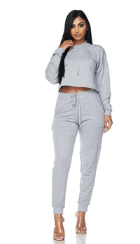 Everyday Pullover Cropped Hoodie Set - Gray - SohoGirl.com