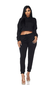 Everyday Pullover Cropped Hoodie Set - Black - SohoGirl.com