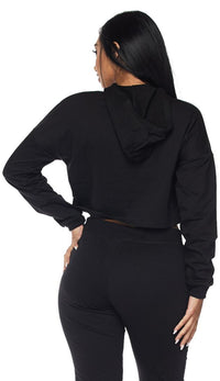 Everyday Pullover Cropped Hoodie - Black - SohoGirl.com