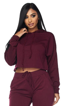 Everyday Pullover Cropped Hoodie - Burgundy - SohoGirl.com