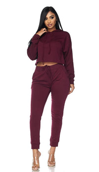 Everyday Pullover Cropped Hoodie Set - Burgundy - SohoGirl.com