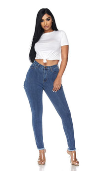Cheeky Distressed High Waisted Denim Skinny Jeans - SohoGirl.com