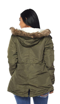 Satin Fur Lined Hooded Parka Coat - Olive - SohoGirl.com