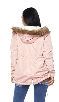 Satin Fur Lined Hooded Parka Coat - Blush - SohoGirl.com