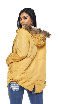 Satin Fur Lined Hooded Parka Coat - Mustard