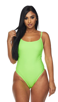 Neon Green Plunging Back One Piece Swimsuit (XS-L)