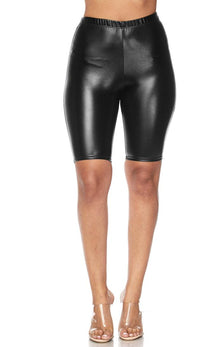 Metallic Bermuda Biker Shorts - Black