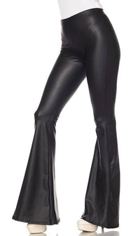 Black Faux Leather Bell Bottom Pants (Plus Sizes Available)