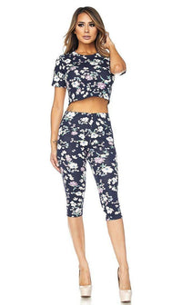 Floral Two Piece Crop Top and Capri Leggings