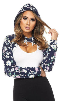 Floral High-low Cropped Hoodie - SohoGirl.com