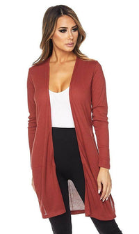 Long Ribbed Side Slit Cardigan in Rust - SohoGirl.com