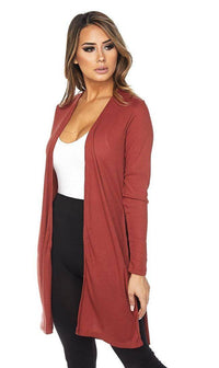 Long Ribbed Side Slit Cardigan in Rust