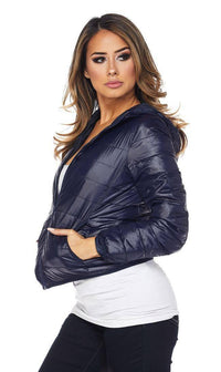Hooded Winter Bubble Jacket in Navy Blue