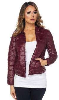 Hooded Winter Bubble Jacket in Burgundy - SohoGirl.com