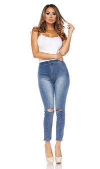 Super High Waisted Stretchy Knee Slit Denim Jeans (S-XL) - SohoGirl.com