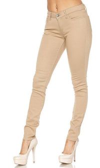Khaki Stretchy School Uniform Skinny Pants