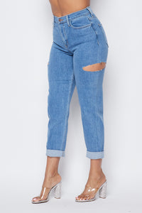 High Waisted Side Cut Out Boyfriend Jeans - Medium Stone